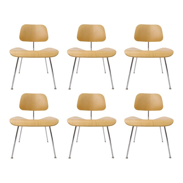 """Charles Eames """"DCM"""" Chairs for Herman Miller in White Ash - Set of 6 - Image 1 of 7"""