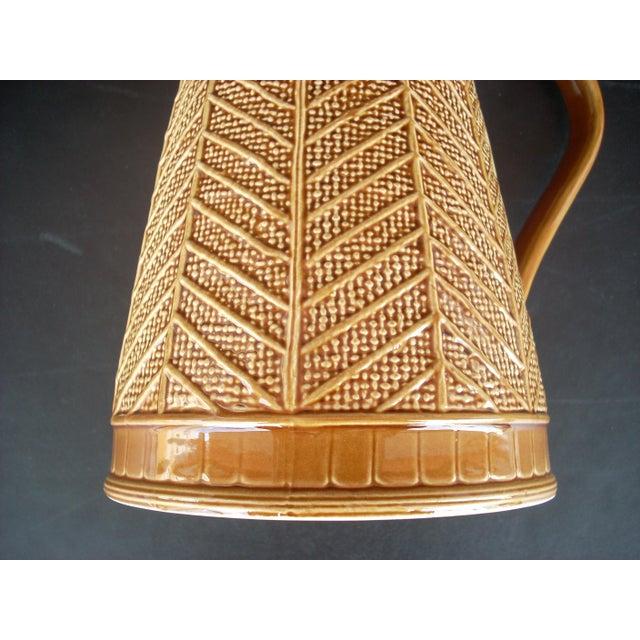 """Stoneware """"Rattan"""" Pattern Pitcher - Image 3 of 5"""