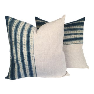 Vintage African Indigo and Linen Pillows - Pair