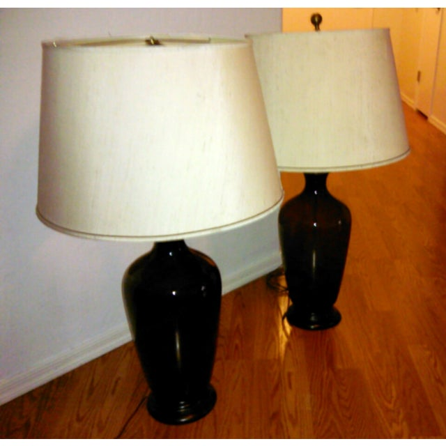 Urn Glass Lamps in Whiskey- A Pair - Image 2 of 3