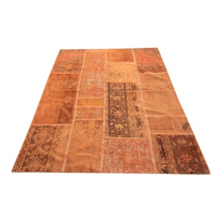Vintage Turkish Overdyed Patchwork Oushak Rug - 4′11″ × 6′5″