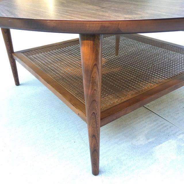 1966 Lane Two Tiered Walnut Cane Coffee Table Chairish