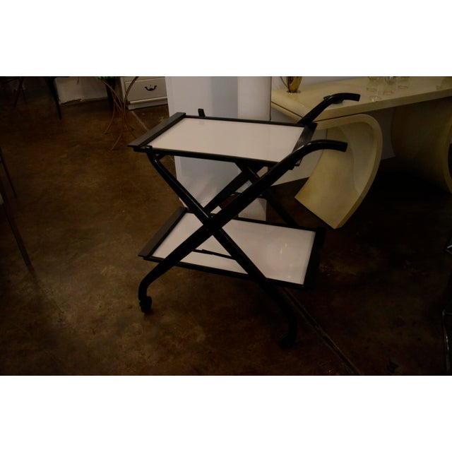 Foldable Newly Laquered Wood Frame & Removable Melamine Tray Bar Cart - Image 2 of 7