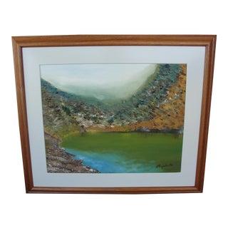 Vintage Harbor Impressionist Oil on Canvas Painting