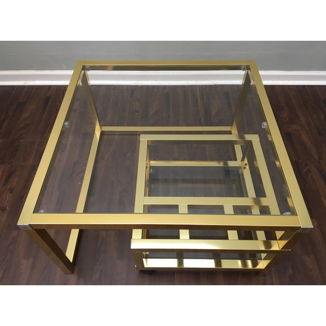 Cubist Brass Swivel Coffee Table with Wine Rack After Milo Baughman - Image 4 of 7