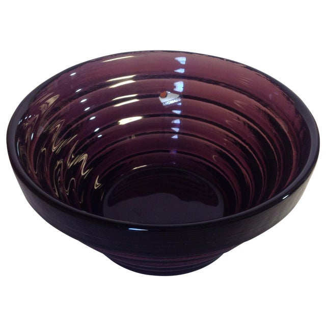 Blenko Purple Art Glass Waterfall Bowl - Image 1 of 4