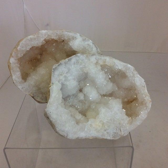 Moroccan Druzy Quartz Geodes - a Pair - Image 2 of 6