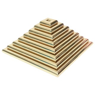 Italian Eight-Piece Pyramid Polished Brass Sculpture Trays/Style of Romeo Rega
