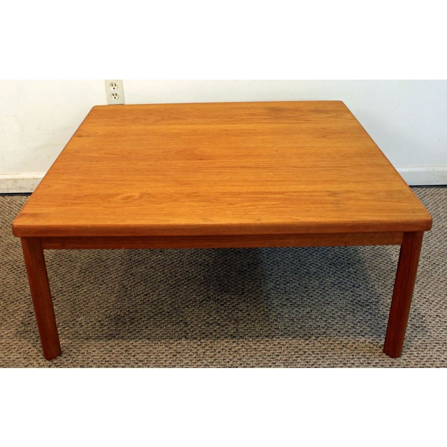 Mid century danish modern square teak coffee table chairish Modern teak coffee table