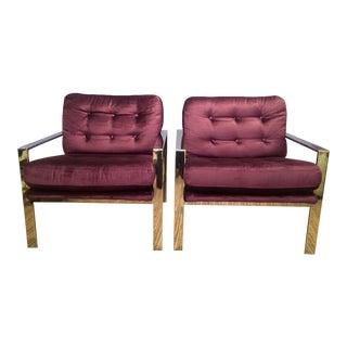 Milo Baughman Inspired Chrome Lounge Chairs - a Pair