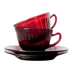 Vintage Ruby Red Tea Cups - Cranberry Glass Red Glass Teacups - Tea for Two - Anchor Hocking Royal Red Coffee Cup and Saucer Set Pair