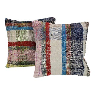 Turkish Kilim Striped Throw Pillows - a Pair