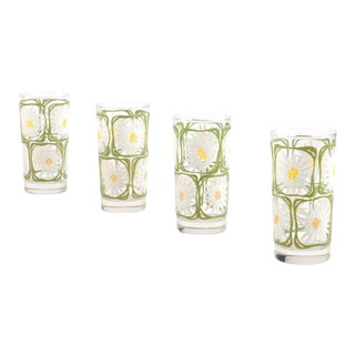 Vintage Libbey Daisy Flower Glasses - Set of 4
