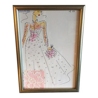 Framed Givenchy Croquis of a Pink Bride