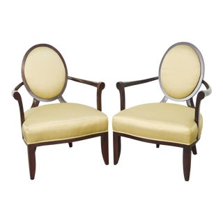 Baker Barbara Barry Oval X Back Arm Chairs - A Pair