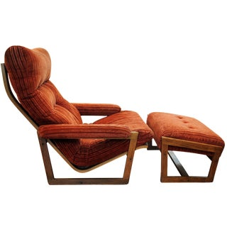 Mid-Century Orange Chenille Lounger & Ottoman