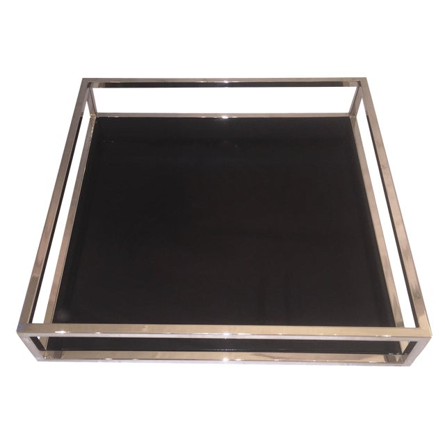 Mid-Century Chrome & Black Lacquered Tray - Image 1 of 6