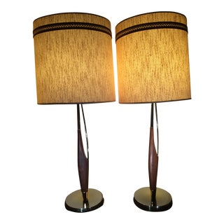 Laurel Lamps With Original Shades by Gerald Thurston - A Pair