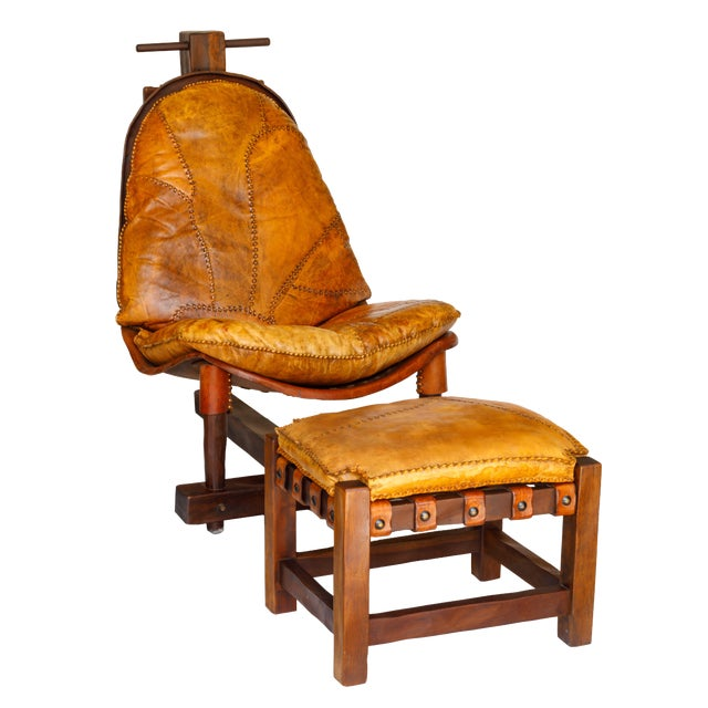 Rare Brazilian Modern Chair & Ottoman - Image 1 of 4