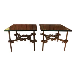Ornate Metal Spanish End Tables - A Pair