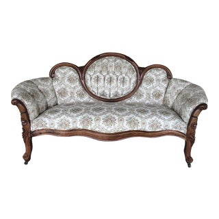French Provincial Tufted Floral Settee
