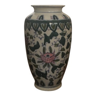 Green & Pink Floral Asian Ceramic Vase