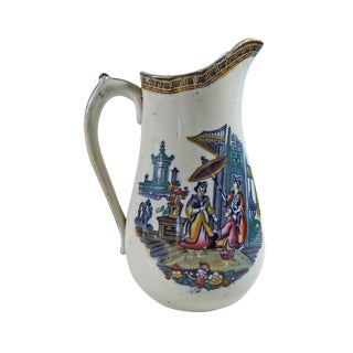 Antique Chinoiserie English Ironstone Pitcher