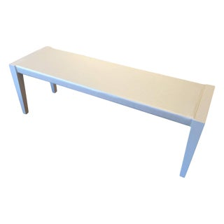 Mid-Century Bench in Off-White Lacquer and Satin Upholstery