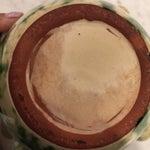 Image of Antique French Provincial Green Splatter Pottery Mortar & Pestle