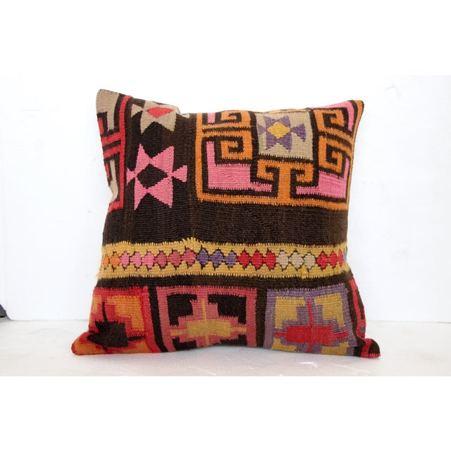 Pink Turkish Kilim Cushions - Pair - Image 4 of 6