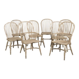 Set of Spindle Back English Windsor Chairs, Custom Painted Finish