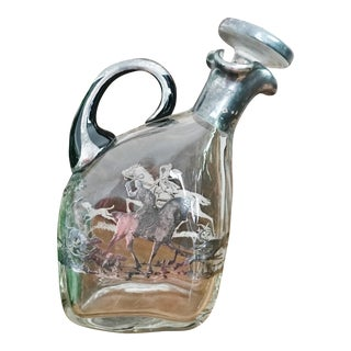 Vintage Glass Fox Hunting Scene Decanter