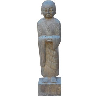 Chinese Stone Carved Standing Lohon Monk Statue