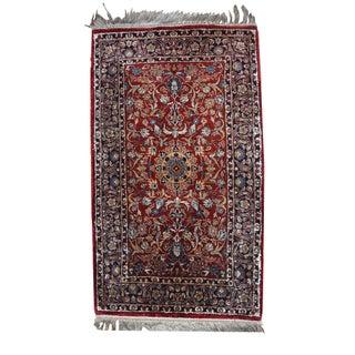 "1980s Handmade Vintage Silk Indian Qum Rug - 1'4"" X 2'5"""