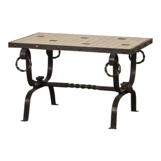 French Art Deco Period Iron Base and Tile Top Coffee Table, circa 1930