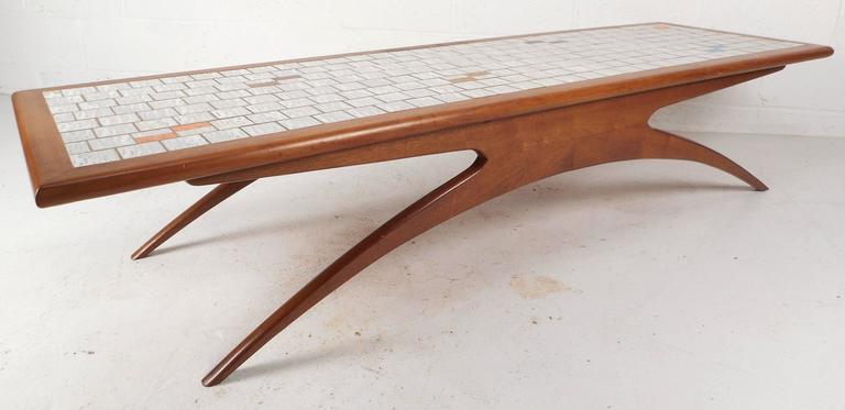 Vladimir Kagan Style Mid Century Modern Tile Top Coffee Table   Image 2 Of