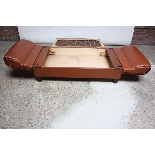 French Deco Leather and Mohair Daybed - Image 7 of 11