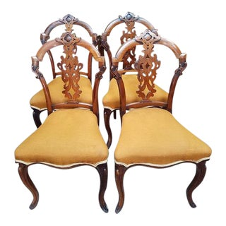 C.1880s English Walnut Dining Chairs - Set of 4