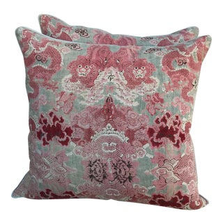 Chinoiserie Printed Foo Dog Pillows- A Pair