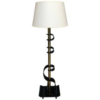 Mid-Century Modern Black Lucite Floor Lamp