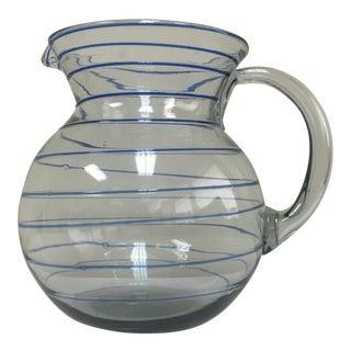 Mid-Century Blue Swirl Art Glass Pitcher
