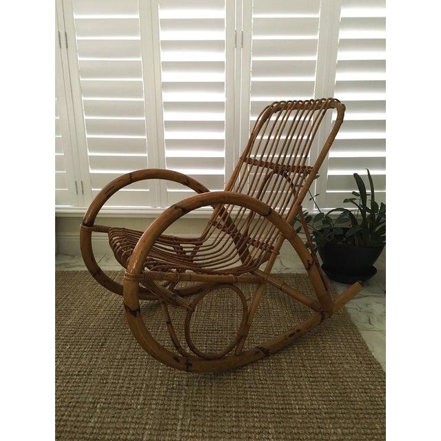 franco albini style rattan rocker chairish. Black Bedroom Furniture Sets. Home Design Ideas
