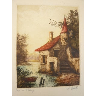 French Lake House Etching
