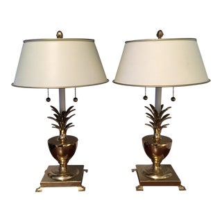Hollywood Regency Brass Pineapple Lamps - a Pair