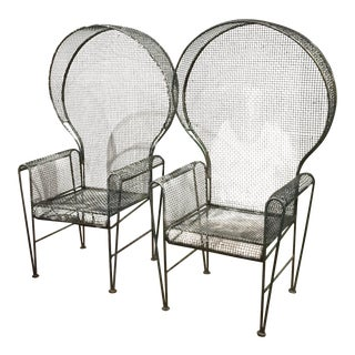 Mid Century Hooded Metal Mesh Garden Chairs - a Pair
