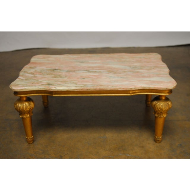 New York Marble Coffee Table: Hollywood Regency Marble-Top Cocktail Table
