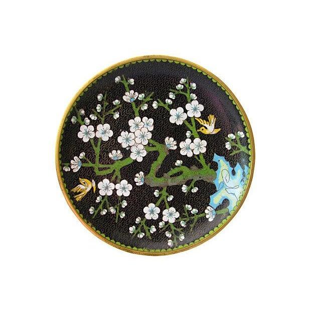 Enameled Cloisonné Floral Plate - Image 1 of 2