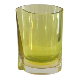 Chartreuse Asymmetrical Glass Vase
