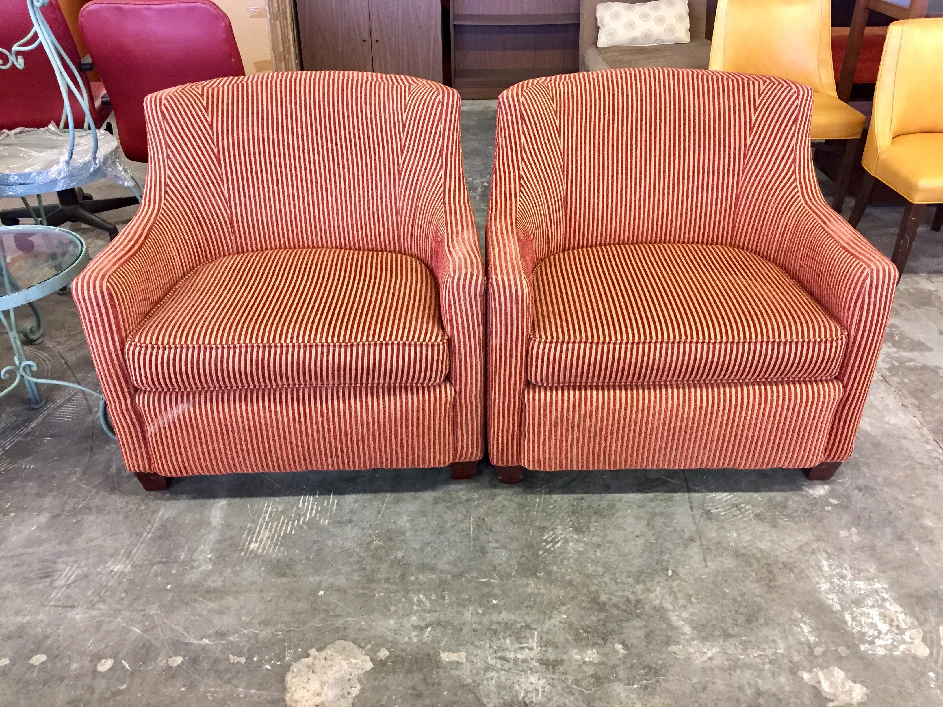 High Quality Red U0026 Gold Wide Wale Corduroy Armchairs   A Pair   Image 2 ...
