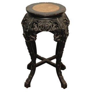 Carved Stand with Marble Inset
